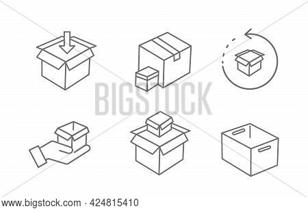 Cardboard Box Line Icon And Carton Packaging Box Isolated On A White Background. Closed And Open Box