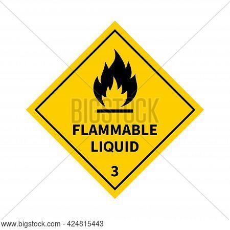 Flammable Liquid Sign On White Background. Danger Sign. Label, Sticker, Symbol. Vector Illustration.