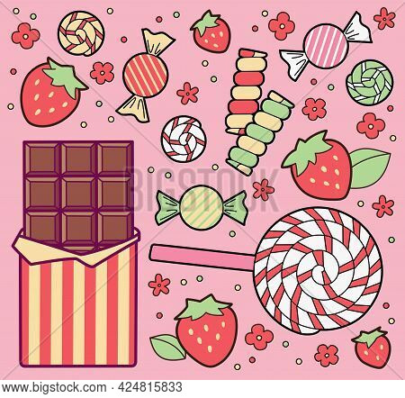 Sweets, Chocolate Bar, Colorful Candies And Strawberries