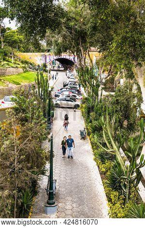 lima, Peru-Jan 11, 2019: View from the Public park in Miraflores district. Lima, Peru.