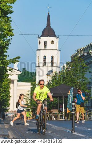 Vilnius, Lithuania - June 22 2022: Cycling On The Road Bike In Vilnius City Center Reopening With Op