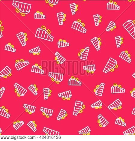 Line Roller Coaster Icon Isolated Seamless Pattern On Red Background. Amusement Park. Childrens Ente