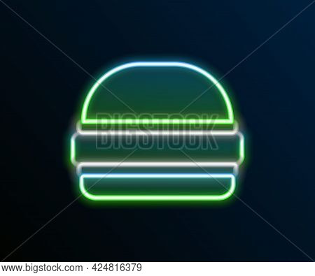 Glowing Neon Line Burger Icon Isolated On Black Background. Hamburger Icon. Cheeseburger Sandwich Si