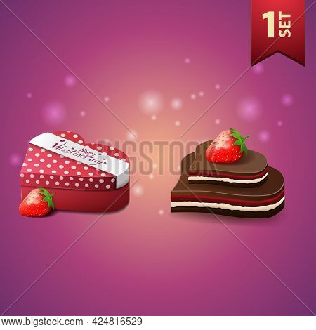 Collection Of Realistic Beautiful Valentines Day Icons. Box Of Chocolates And Candy