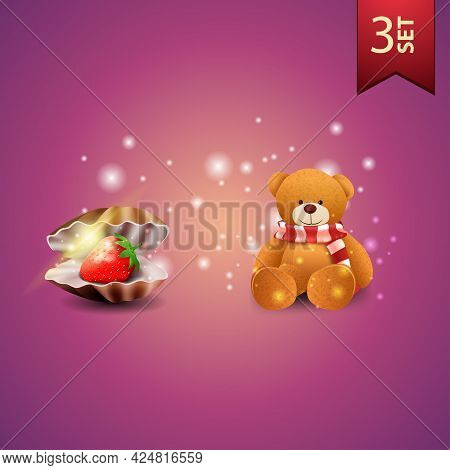 Collection Of Beautiful Valentines Day Icons. Pearl Shell, Teddy Bear