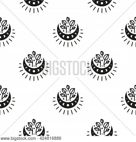 Boho Seamless Pattern With Crescent Moon, Moon Phases, Leafy Twigs And Starburst.