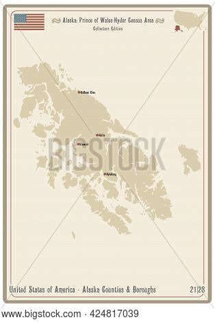 Map On An Old Playing Card Of Prince Of Wales-hyder Census Area In Alaska, Usa.