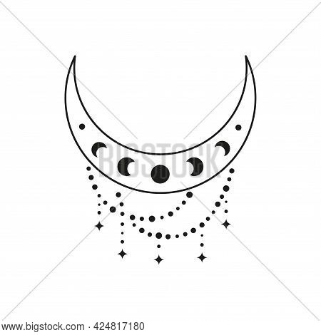 Boho Crescent With Moon Phases, Beads And Stars.