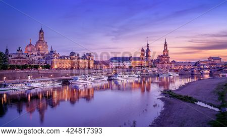 Panoramic View At The Old Town Of Dresden While Sunset, Germany