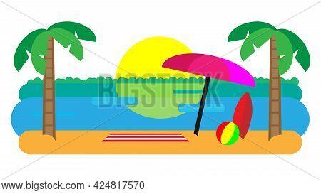 Beach Landscape With Beach Umbrella, Mat, Surfboard And A Ball. Sunset Beach Landscape. Flat Design