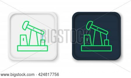 Line Oil Pump Or Pump Jack Icon Isolated On White Background. Oil Rig. Colorful Outline Concept. Vec