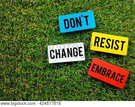 Text Dont Resist Change Embrace On Colorful Wooden Board On Green Grass Background.