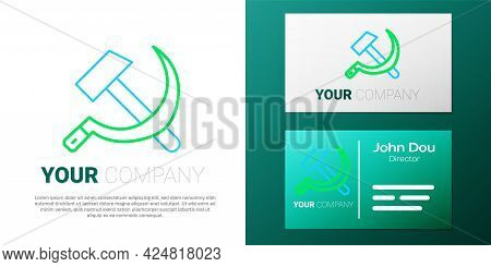 Line Hammer And Sickle Ussr Icon Isolated On White Background. Symbol Soviet Union. Colorful Outline