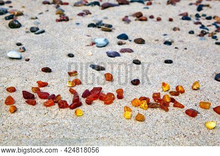 Amber In The Sand. Amber On The Seashore. Sun Stone