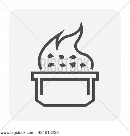 Smelting Burning Or Heating Vector Icon. Consist Of Ore, Fire And Crucible. Process For Casting In M