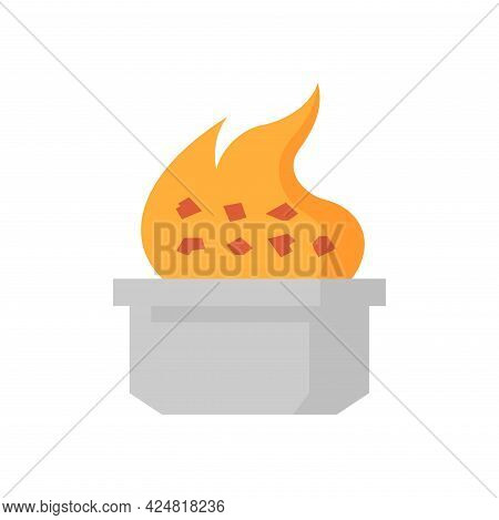 Smelting Burning Or Heating Vector Icon. Consist Of Ore, Fire, Crucible Or Container. Process For Ca