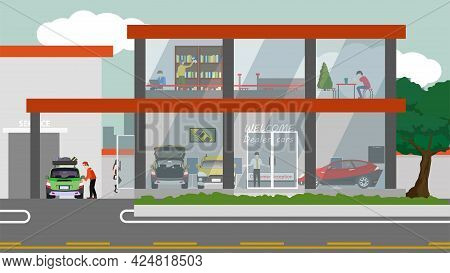 Car Showroom Building. Showroom Or Dealership. Rest Area Service While Waiting For Car Repairs. Rece