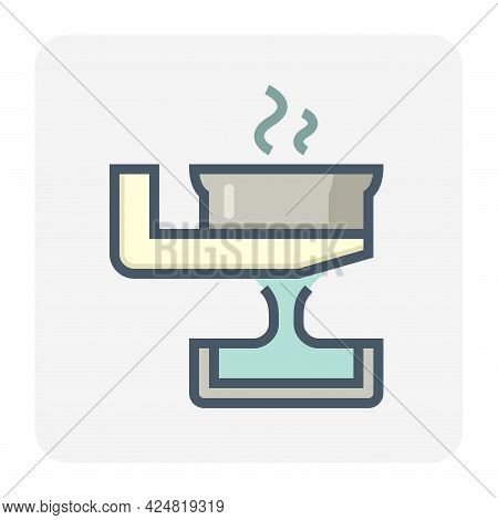 Casting Process In Metallurgy Or Metallurgical Production Industry Vector Icon. Manufacturing Proces