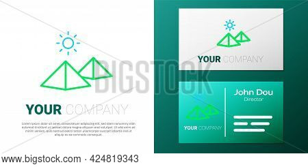 Line Egypt Pyramids Icon Isolated On White Background. Symbol Of Ancient Egypt. Colorful Outline Con