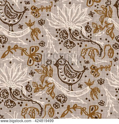 Seamless Linen Doodle Floral Pattern Background. Calm Boho Earthy Tone Color Wallpaper. Simple Moder