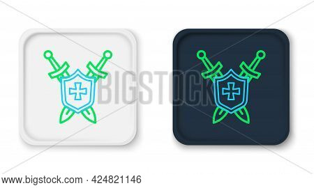 Line Medieval Shield With Crossed Swords Icon Isolated On White Background. Colorful Outline Concept