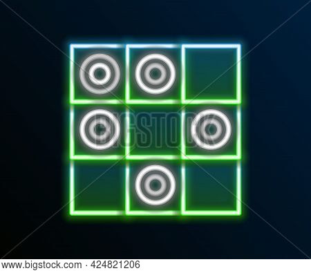 Glowing Neon Line Board Game Of Checkers Icon Isolated On Black Background. Ancient Intellectual Boa