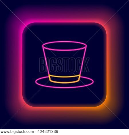 Glowing Neon Line Cylinder Hat Icon Isolated On Black Background. Colorful Outline Concept. Vector