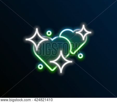 Glowing Neon Line Two Linked Hearts Icon Isolated On Black Background. Romantic Symbol Linked, Join,