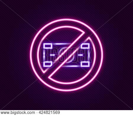 Glowing Neon Line No Money Icon Isolated On Black Background. Prohibition Of Money. Colorful Outline