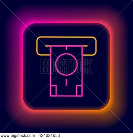 Glowing Neon Line Atm - Automated Teller Machine And Money Icon Isolated On Black Background. Colorf