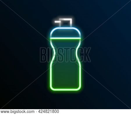 Glowing Neon Line Fitness Shaker Icon Isolated On Black Background. Sports Shaker Bottle With Lid Fo