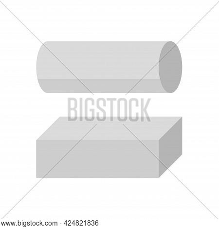 Metal Or Steel Rod Bar Vector Icon. Round And Square Profile Shape. That Alloy Of Iron From Steel Pr