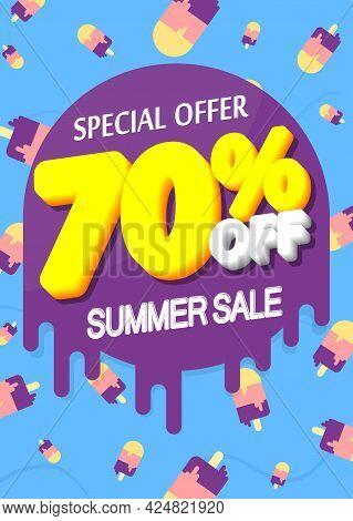 Summer Sale 70% Off, Poster Design Template, Season Best Offer. Discount Banner For Online Shop