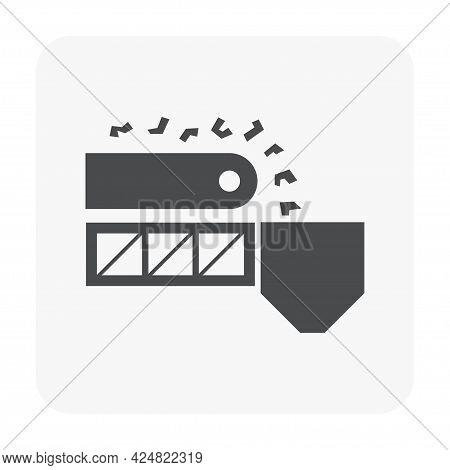 Mining Processing Industry Vector Icon. Industrial Machine, Equipment With Conveyor Belt. To Transpo
