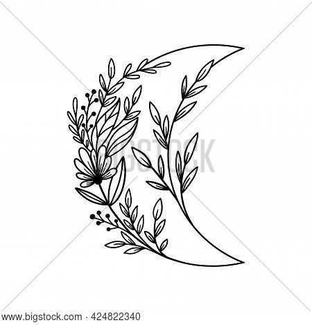 Hand Drawn Floral Crescent Moon With Flowers And Leaves.