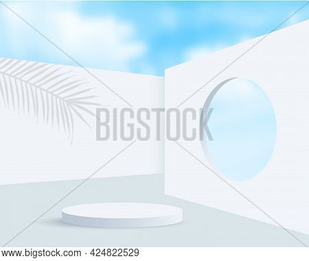 White Podium Display With Palm Tree Shadow For Product Presentation, Summer Blue Sky Background. Pro