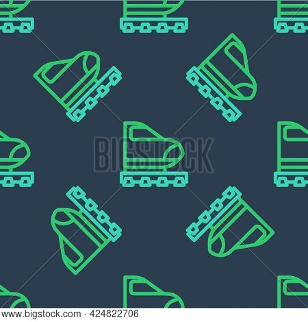 Line High-speed Train Icon Isolated Seamless Pattern On Blue Background. Railroad Travel And Railway