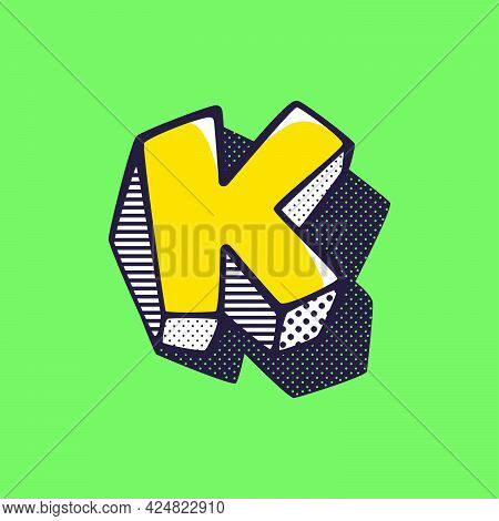 Retro 3dletter K Logo With Polka Dot And Striped Pattern On The Sides. Vector Isometric Font For Ki