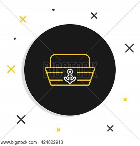 Line Sailor Hat Icon Isolated On White Background. Colorful Outline Concept. Vector