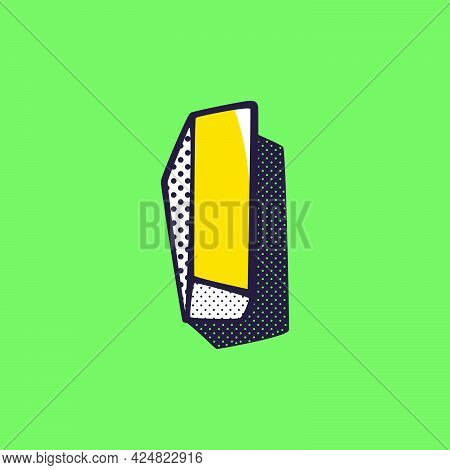 Retro 3dletter I Logo With Polka Dot And Striped Pattern On The Sides. Vector Isometric Font For Ki