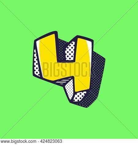Retro 3d Number Four Logo With Polka Dot And Striped Pattern On The Sides. Vector Isometric Font For