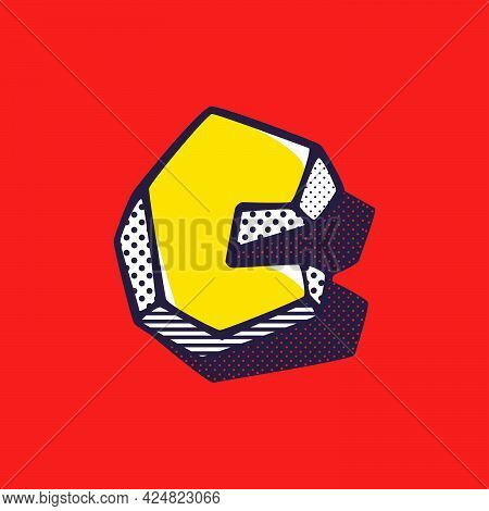 Retro 3dletter C Logo With Polka Dot And Striped Pattern On The Sides. Vector Isometric Font For Ki