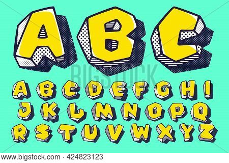 Retro 3d Alphabet With Polka Dot And Striped Pattern On The Sides. Vector Isometric Font For Kids Lo