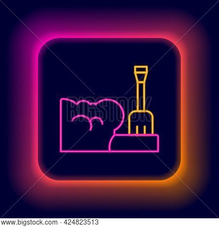Glowing Neon Line Shovel In Snowdrift Icon Isolated On Black Background. Colorful Outline Concept. V