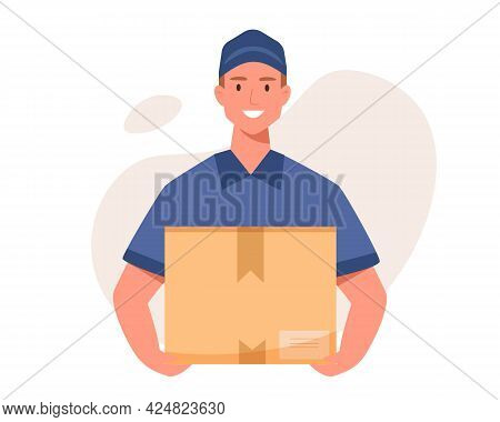 Young Delivery Man With Box. Courier With A Box In His Hands.vector Flat Cartoon Illustration.