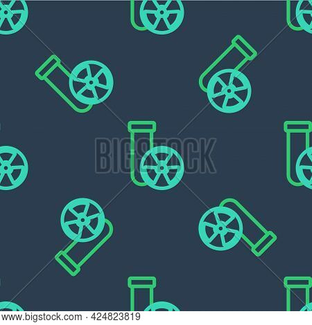 Line Laboratory Chemical Beaker With Toxic Liquid Icon Isolated Seamless Pattern On Blue Background.