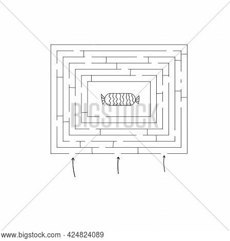Abstract Mazes Labyrinths With Entry And Exit. Vector Labyrinths.