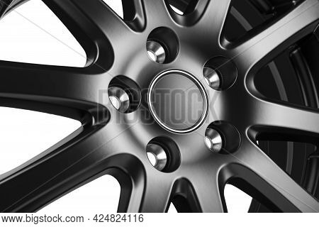Car Wheel Discs. Car Wheel Rim Black Color Matt Isolated On White Background. Style Concept.
