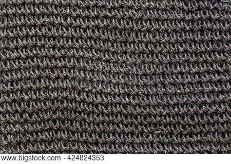 Texture Of Black Synthetic Thread. Textile Concept. Abstract Background. Top View.
