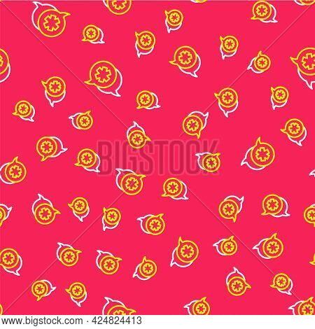 Line Dialogue With The Doctor Icon Isolated Seamless Pattern On Red Background. Doctor And Patient D